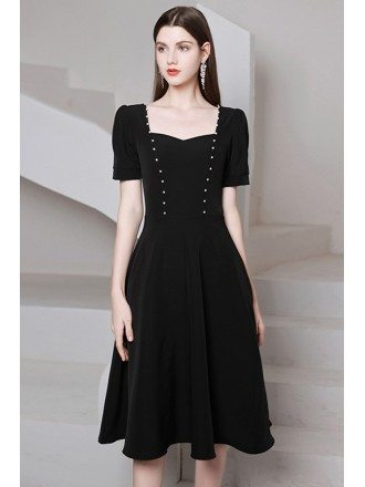 Retro Knee Length Black Chic Semi Party Dress with Short Sleeves
