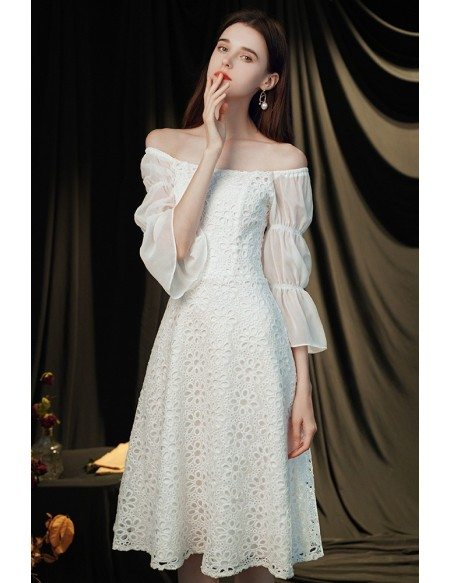 Elegant White Lace Square Neckline Hoco Party Dress with Bubble Sleeves