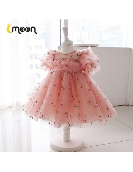 Lovely Pink Tulle Girls Party Dress With Little Flowers Sleeves