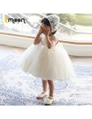 Lace Big Ballgown Formal Flower Girl Dress With Beaded Neckline