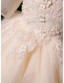 Champagne Tulle Tutus Formal Girls Party Dress With Beaded Flowers