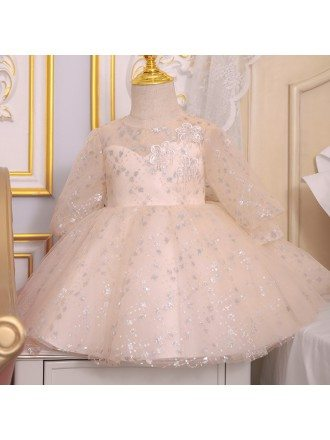 Bling Sequins Champagne Ballgown Girls Pageant Gown With Sleeves