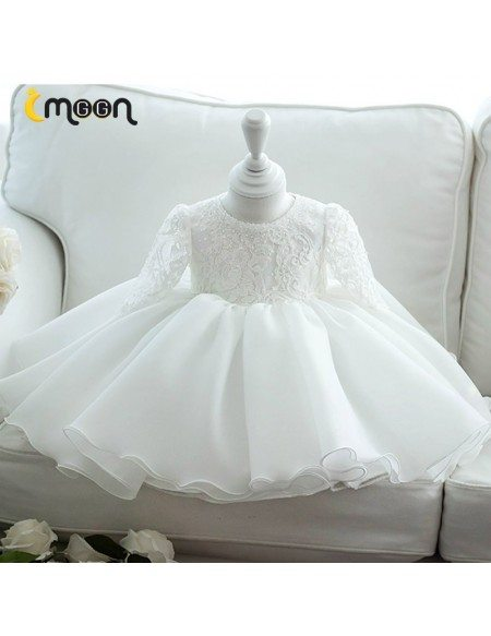 Formal Beaded Lace Ballgown Flower Girl Dress With Sleeves Big Bow In Back