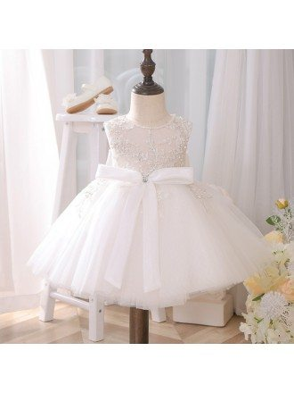 Couture Embroidered Pearls Ballgown Flower Girl Dress With Big Bow Knot For Weddings