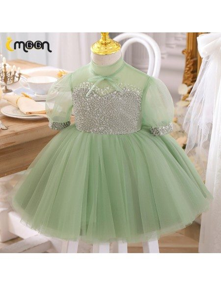 Green Tulle Super Cute Tutus Girls Party Dress With Bling Sequins