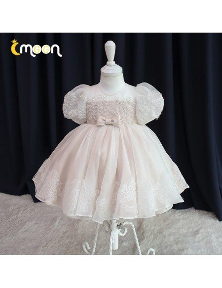 Princess Ballgown Light Pink Girls Party Dress Beaded Lace With Bubble Sleeves