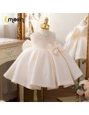 Luxe Pearl Neckline Satin Flower Girl Dress With Big Bow Knot