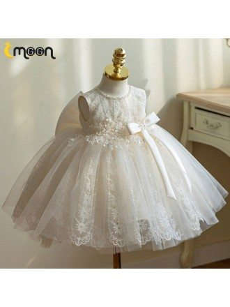 Unique Sequined Lace Ballgown Tulle Flower Girl Party Dress With Big Bow In Back
