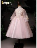 Pink Ballgown Tulle Tea Length Girls Formal Dress With Appliques Sheer Sleeves