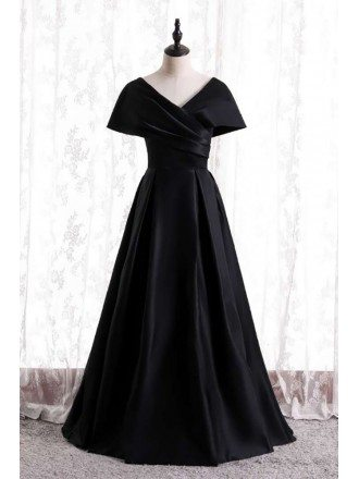 Modest Long Black Pleated Evening Dress with Dolman Sleeves