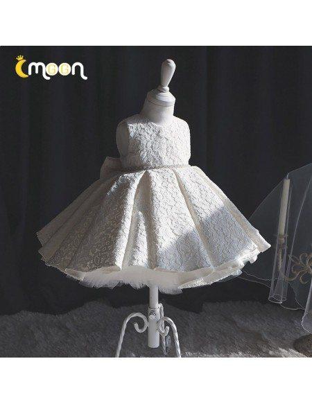 Elegant Full Lace Ballgown Flower Girl Dress With Jeweled Sash Big Bow