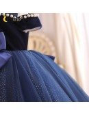 Dreamy Blue Bling Tulle Girls Party Dress With Big Bow Knot