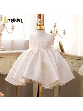 Beaded Pearls Neckline Satin Flower Girl Dress Ballgown Sleeveless