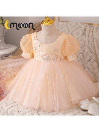 Champagne Bubble Sleeved Ballgown Girls Formal Dress Tutus With Beading Sequins