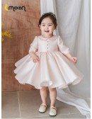 Elegant Pink Satin Ballgown Flower Girl Dress With Collar Half Sleeves