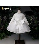 Elegant Lace Long Sleeved Princess Girls Pageant Gown With Lace Trim