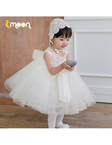 Super Cute Princess Lace Ballgown Flower Girl Dress Tutus With Big Bow Knot