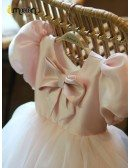 Retro Pink Bubble Sleeved Tulle Party Dress For Little Girls