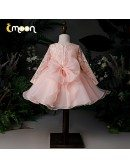 Pink Beaded Lace Ruffles Ballgown Girls Party Dress With Long Sleeves
