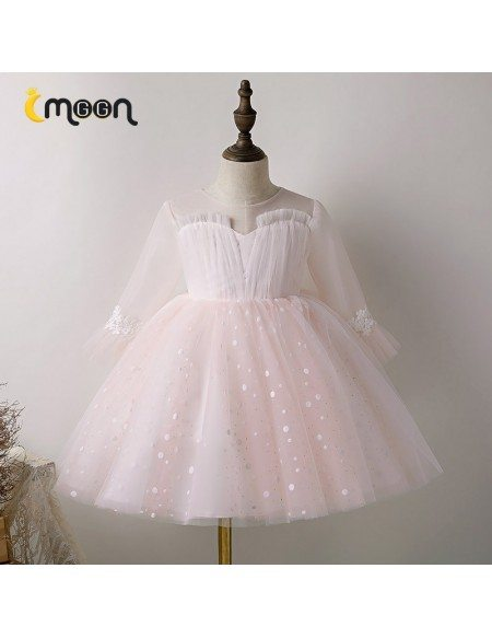 Polka Dot Pink Tulle Girls Formal Party Dress With Long Sleeves