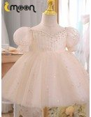 Beaded Sequins Champagne Tulle Princess Flower Girl Dress With Bubble Sleeves
