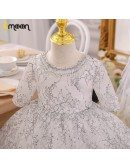 Unique Black Lace Girls Formal Dress For Pageant Beaded Neckline With Sleeves