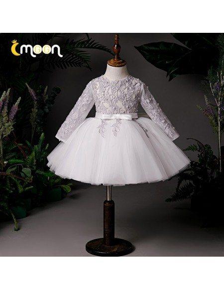 Elegant White Tulle Grey Lace Wedding Flower Girl Dress With Long Sleeves