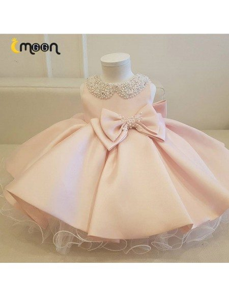 Super Cute Pink Satin Ballgown Girls Party Dress With Jeweled Collar