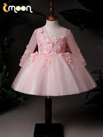 Pink Beaded Flowers Short Tulle Party Dress Long Sleeved For Little Girls
