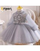 Grey Tulle Tutus Girls Party Dress With Bling Sequins Sheer Sleeves