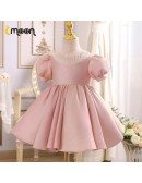 Shinny Pink Ballgown Girls Formal Dress With Beaded Neckline Sleeves