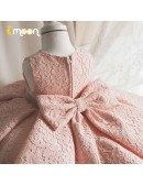 Full Pink Lace Little Girls Pageant Gown Ruffled With Jeweled Sash