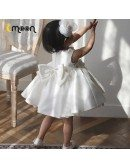 Satin Ruffled Ballgown Flower Girl Dress With Pearls And Bow Knot