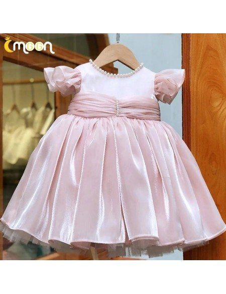 Pearls Neckline Cute Little Girls Party Dress With Ruffles