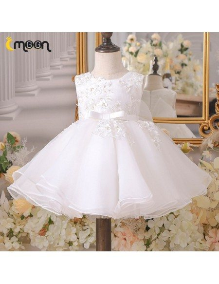 Beaded Lace Ballgown Wedding Flower Girl Dress With Sash Big Bow Knot
