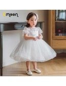 Puffy Ballgown Tulle Girls Party Dress With Beaded Sleeves