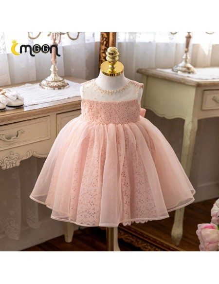 Beautiful Pink Lace Tutus Flower Girl Dress With Lace Big Bow