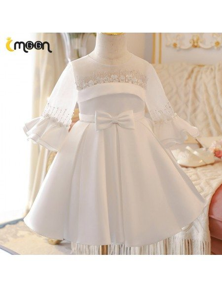 Vintage Bell Sleeved Satin Pleated Formal Flower Girl Dress With Bows