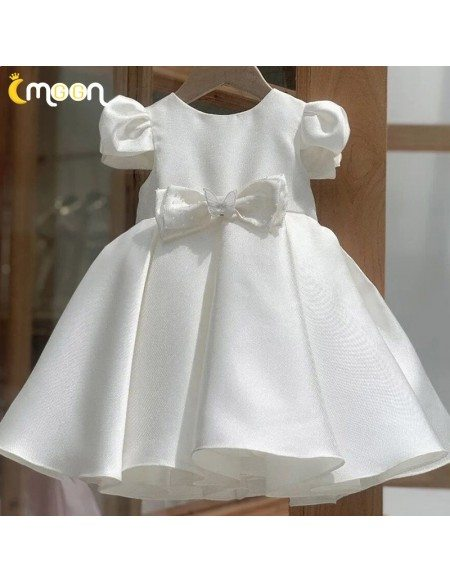 Ivory Bubble Sleeved Flower Girl Dress With Butterfly Bow