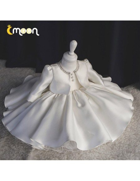 Elegant Ruffled Satin Girls Pageant Gown With 3/4 Sleeved Jacket