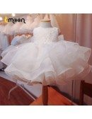 Puffy Ballgown Ruffles Girls Pageant Gown With Beaded Petals