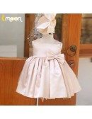 Cute Pink Square Neckline Satin Flower Girl Dress With Bow Knot