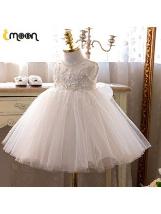 Beaded Neckline Pearls Flowers Big Ballgown Tulle Formal Dress For Girls