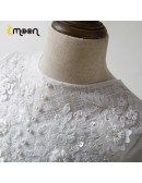 Sequined Lace Tulle Flower Girl Dress With Long Sleeves For Winter