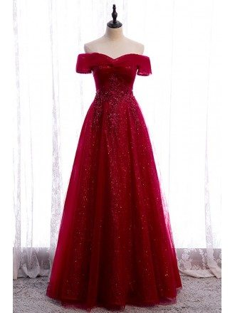 Off Shoulder Burgundy Bling Tulle Prom Dress with Appliques