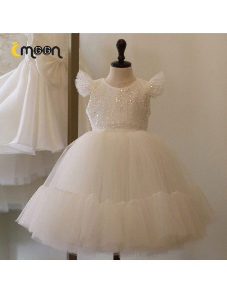 Super Cute White Tulle Ballgown Girls Formal Dress With Bling Sequins