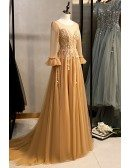 Illusion Round Neck Long Tulle Gold Prom Dress with Sheer Sleeves