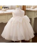 Sequined Lace Ballgown Flower Girls Party Dress With Big Bow In Back