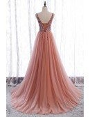Sequined Vneck Split Pink Prom Dress Aline Sleeveless with Train