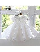 Unique Beaded Baby Collar Satin Girls Formal Dress With Ruffles Ballgown